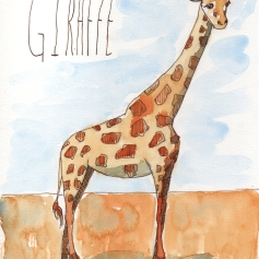 Giraffe - watercolor and ink