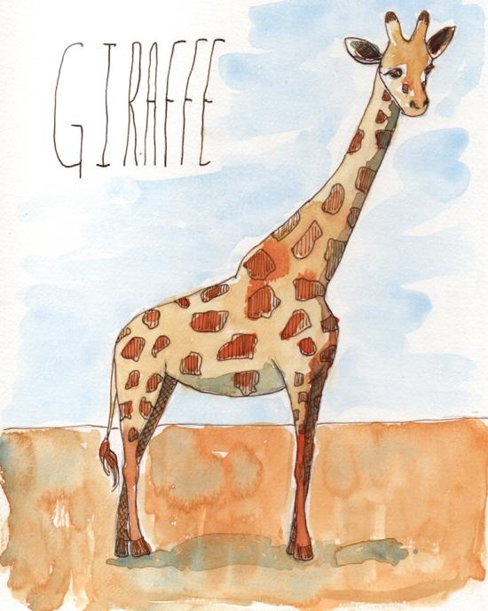 Giraffe - watercolor and ink