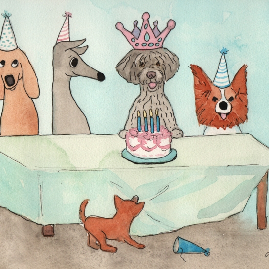 Happy Birthday Mokie - watercolor and ink
