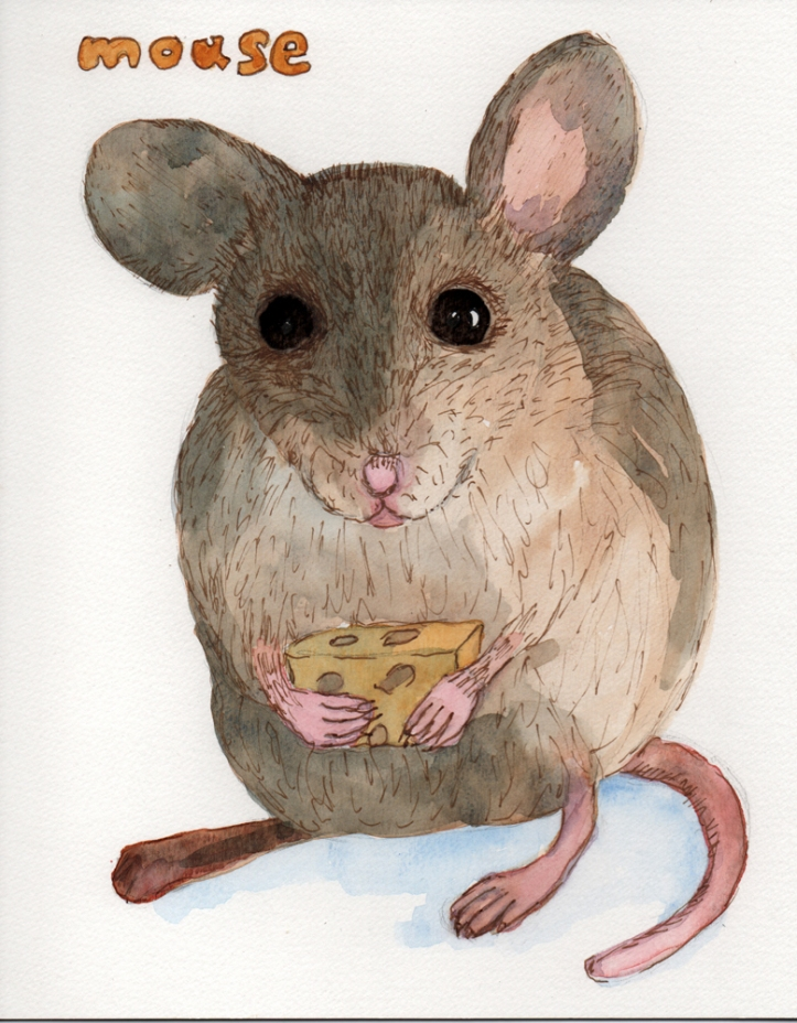 Mouse - watercolor and ink